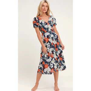 Lulus Pretty Poppies Navy Blue Floral Midi Dress S